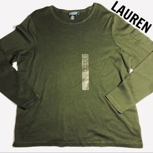 NWT Ralph LAUREN Olive Green long sleeved top 1X